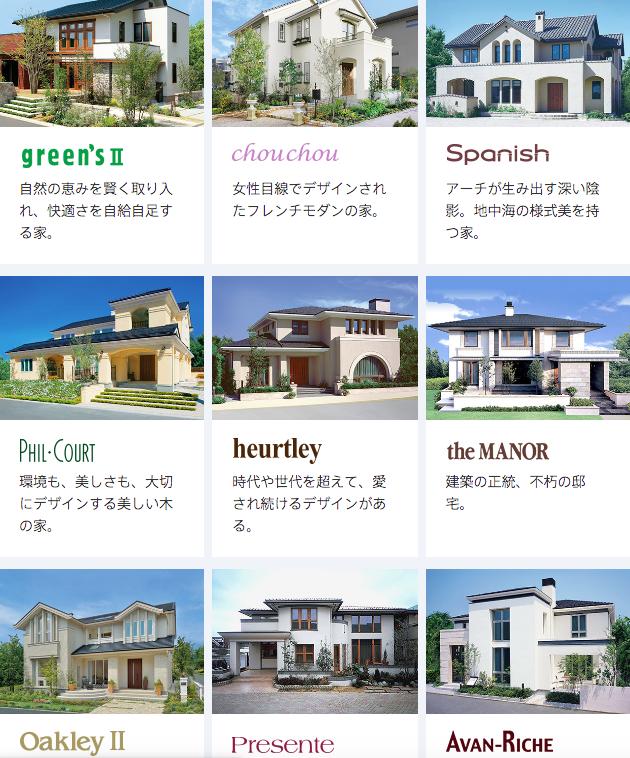 三井ホームの商品ラインアップ