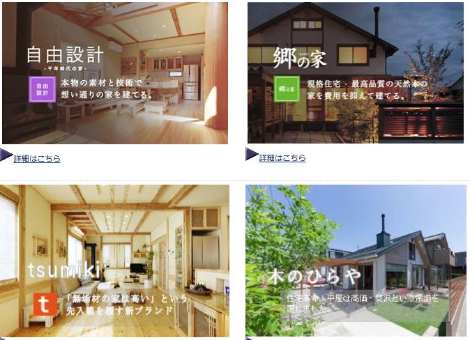 内島住宅の商品ラインアップ